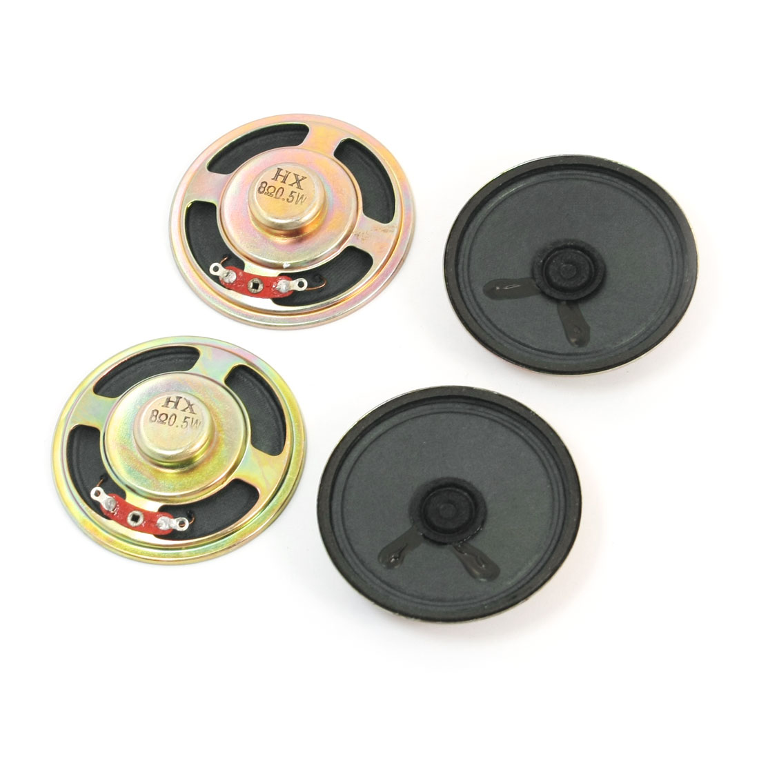 4Pcs 0.5W 8 Ohm 57mm Dia Round Metal Shell Internal Magnet Electronic Toys Music Player Speaker Loudspeaker