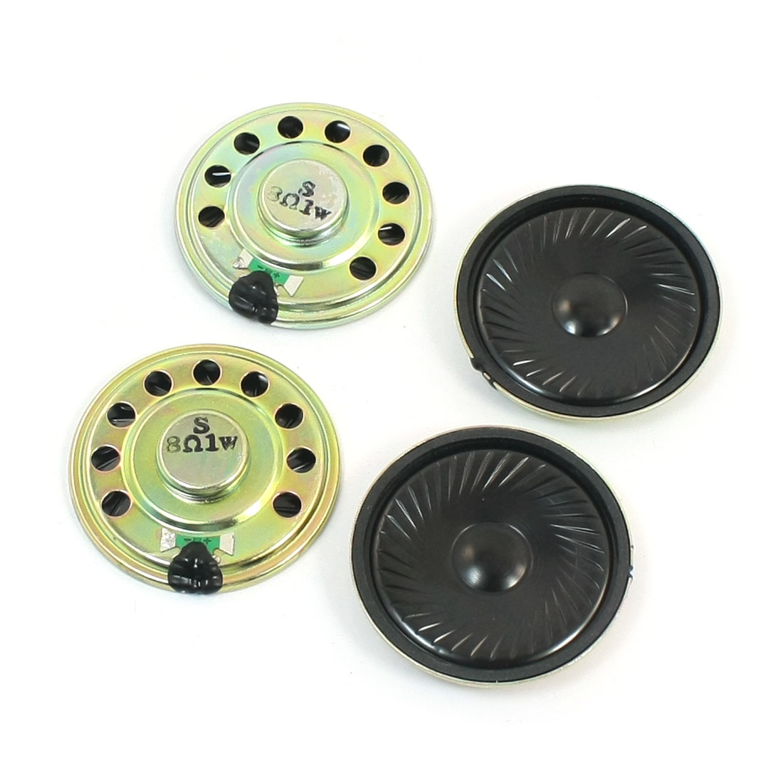 4 Pcs 50mm Dia Round Metal Housing Internal Magnet Metal Music Player Audio Speaker Amplifier Loudspeaker 1W 8 Ohm