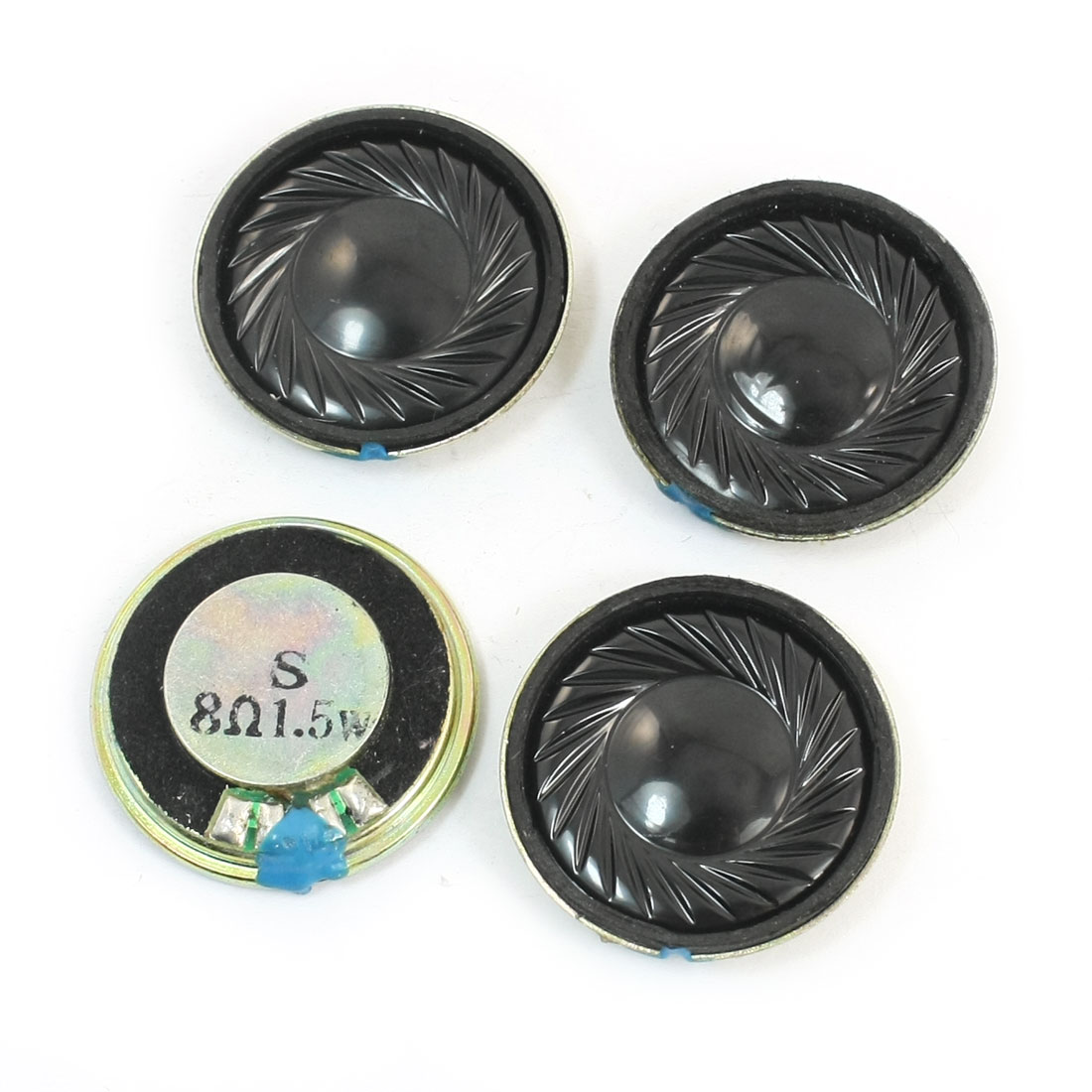 LCD Ad Player Parts 28mm Dia Round Metal Magnetic Type Speaker Loudspeaker 1.5W 8 Ohm 4 Pcs