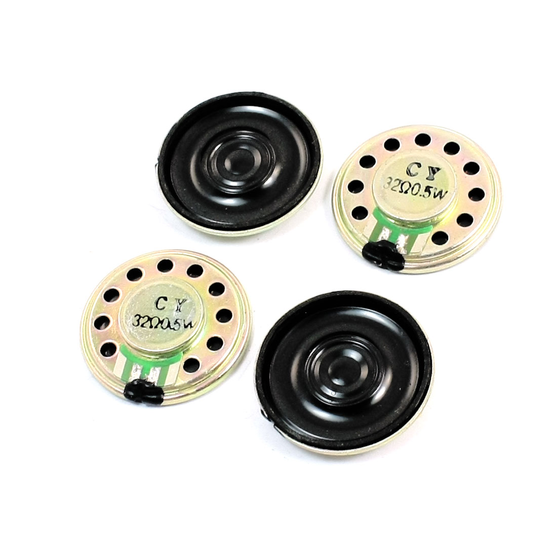 4Pcs 0.5W 32 Ohm 28mm Dia Round Metal Internal Magnet Electronic Toys Music Player Speaker Loudspeaker