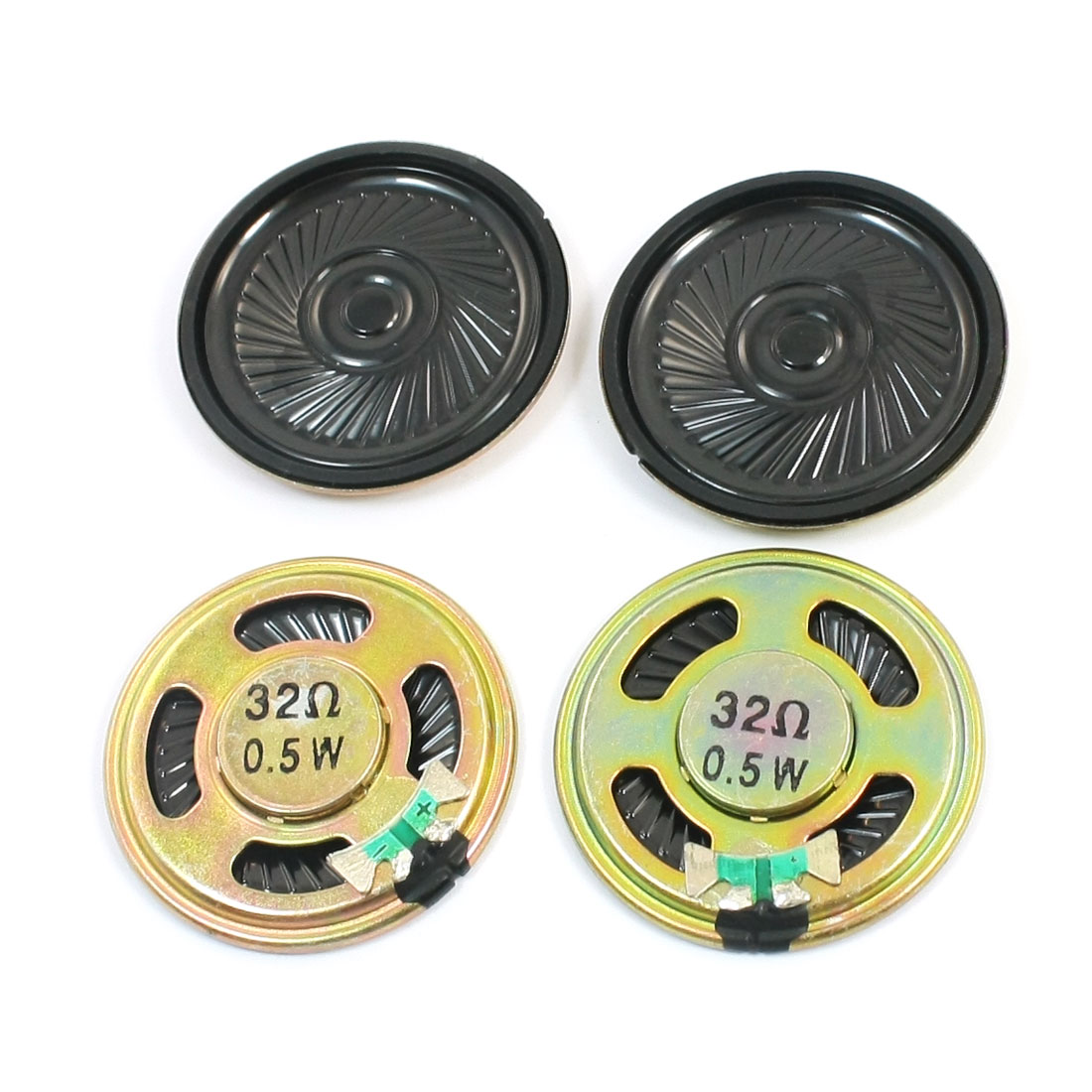 Music Player 40mm Dia Round Magnet Sealed Round Metal Mini Speaker Loudspeaker 32 Ohm 0.5W 4Pcs