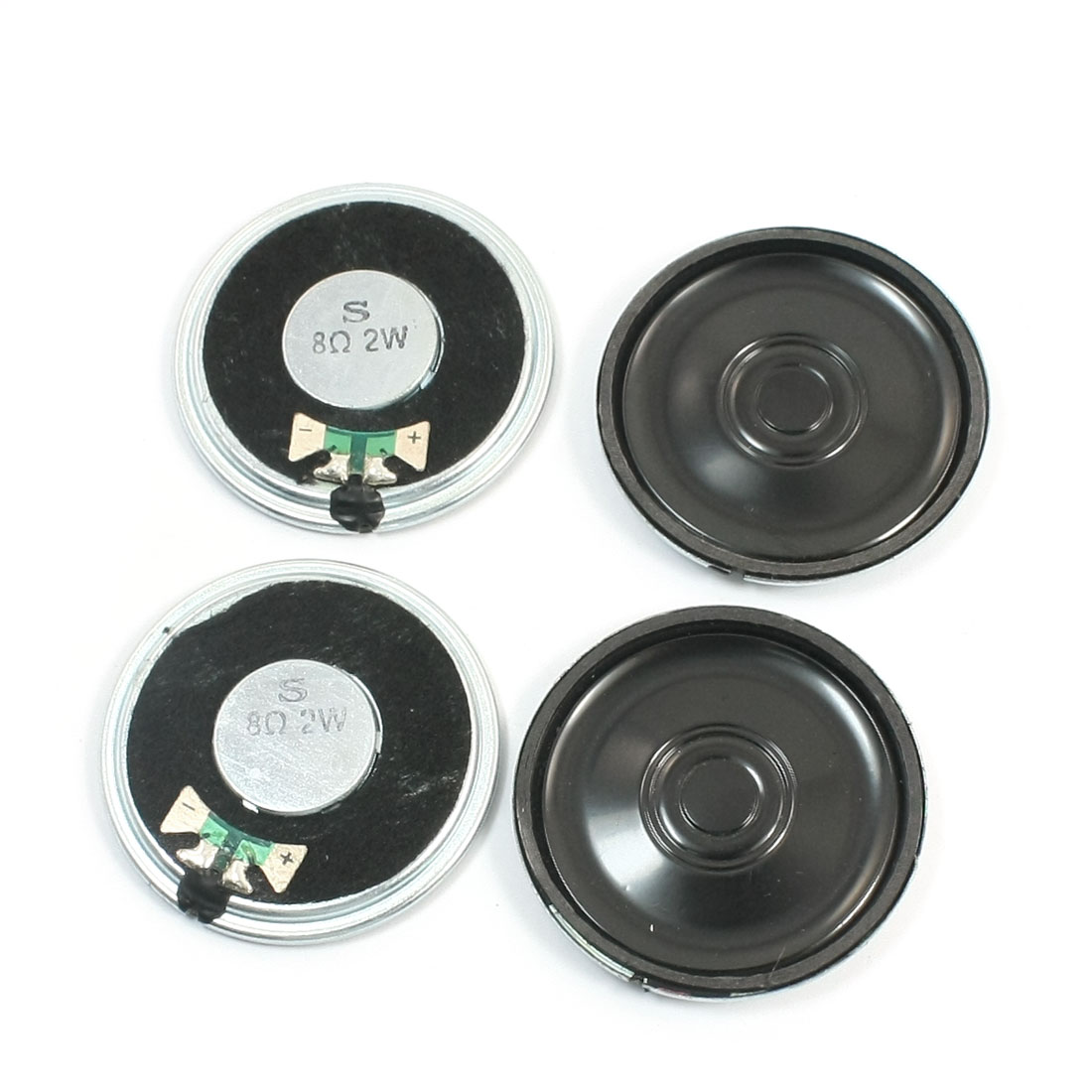 4 Pcs 40mm Round Metal Case Inside Magnet Speaker Loudspeaker Amplifier Replacement 8 Ohm 2W for DVD EVD Music Player