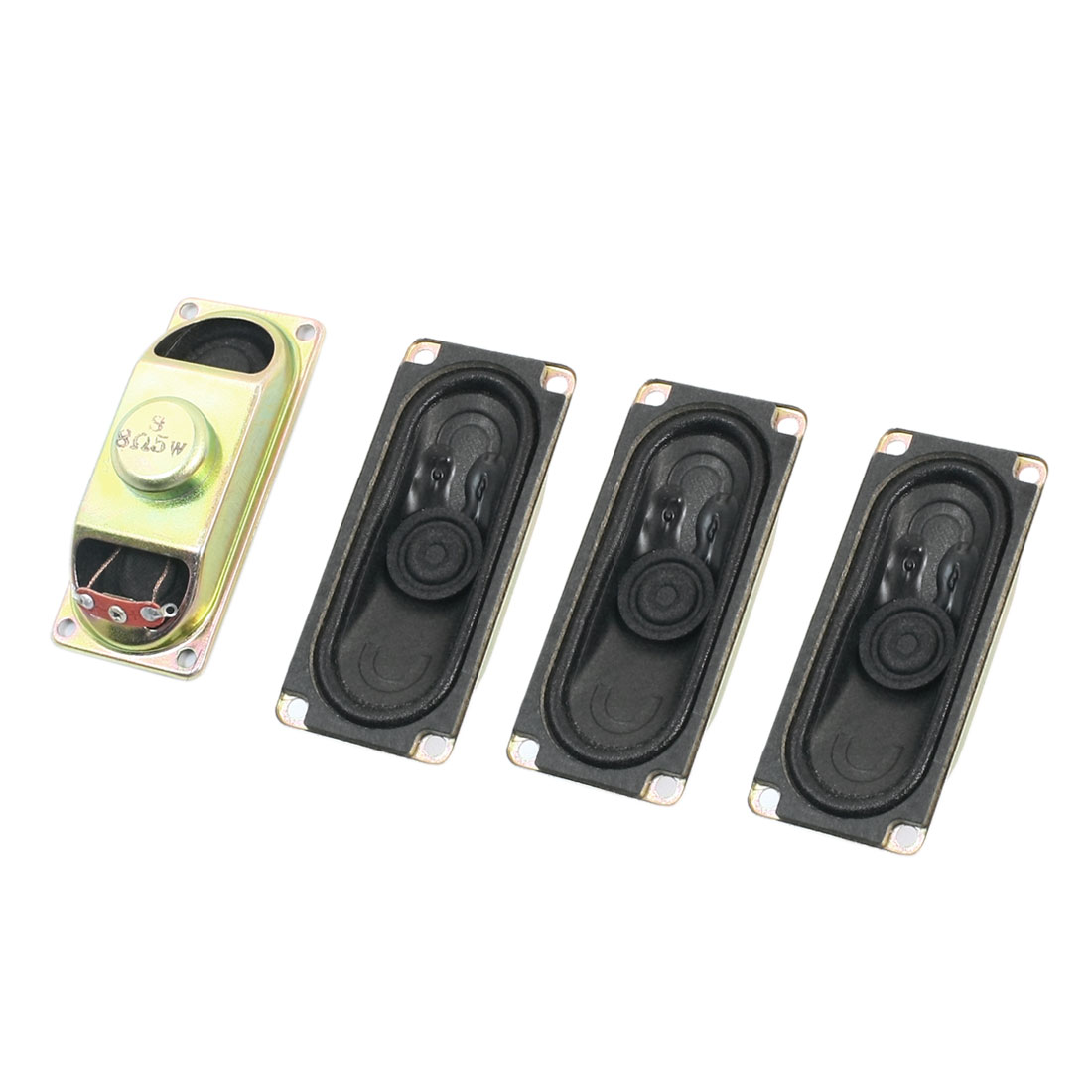 4Pcs 70mm x 30mm Rectangle Metal Case Magnetic Type TV Player Audio Speaker Amplifier Loudspeaker 5W 8 Ohm