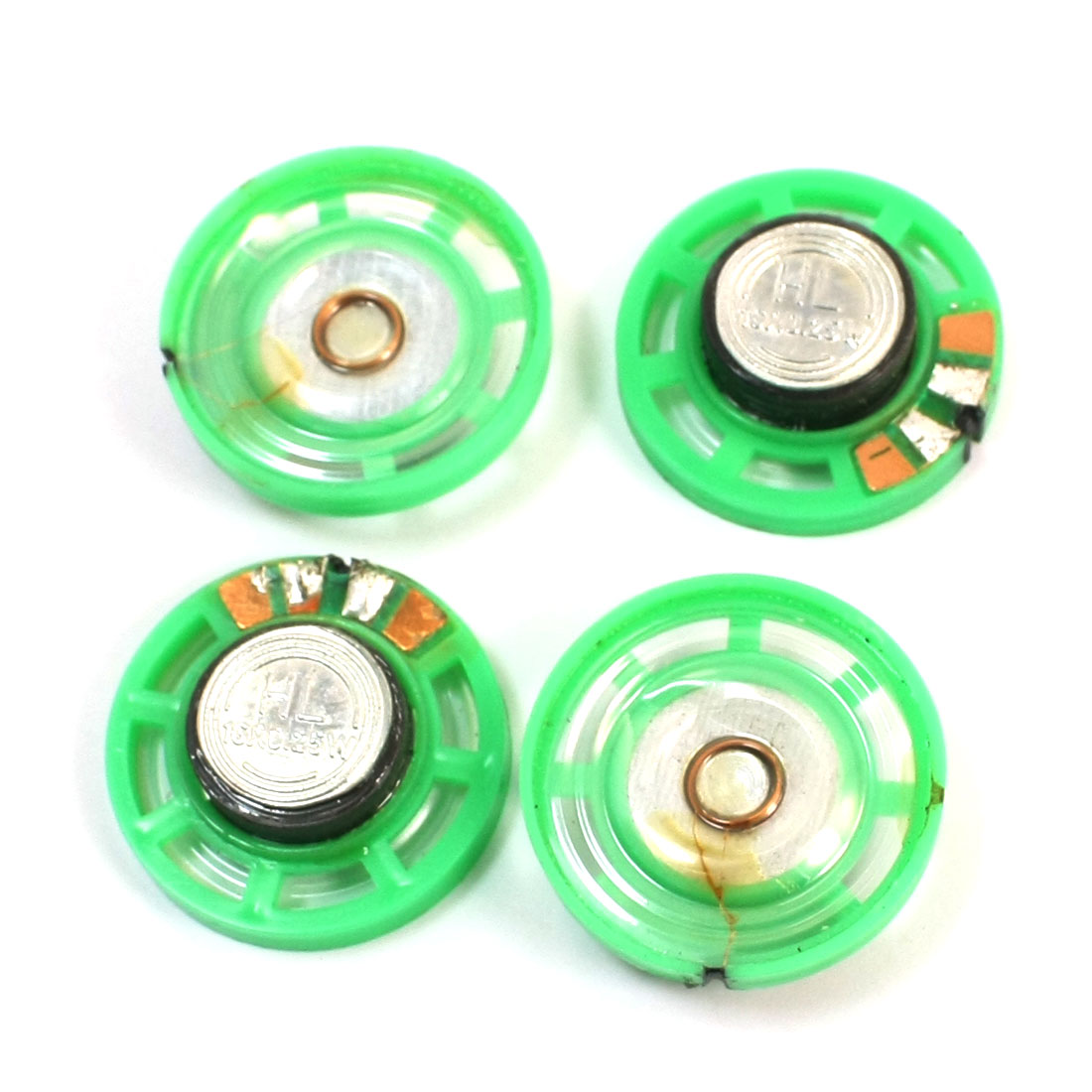 4Pcs 29mm Round Green Plastic Slim Shell External Magnetic Type Electronic Toys Speaker Amplifier 16 Ohm 0.25W