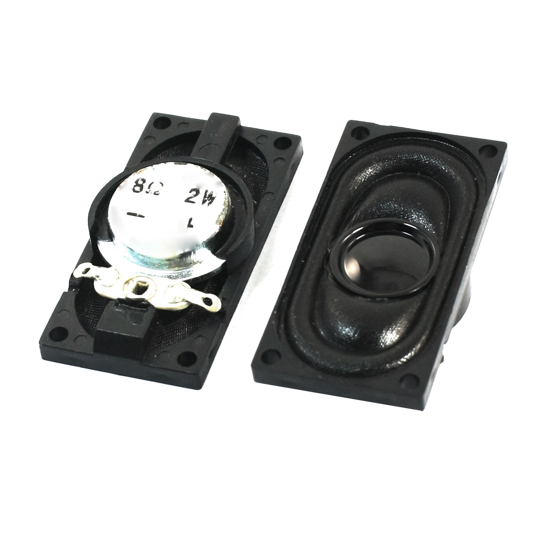 Replacement Rectangle Plastic Shell Magnetic Notebook Speaker Amplifier Loudspeaker Trumpet 2W 8 Ohm 40mm x 20mm 2Pcs