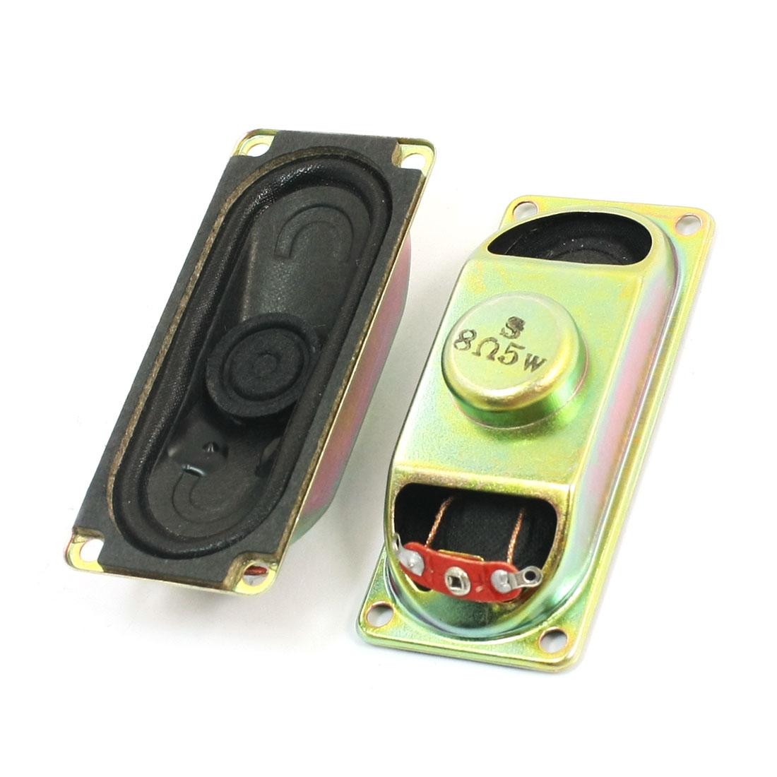 2 Pcs 70mm x 30mm Rectangle Metal Case Magnetic Type LCD TV Player Audio Speaker Amplifier Loudspeaker 5W 8 Ohm