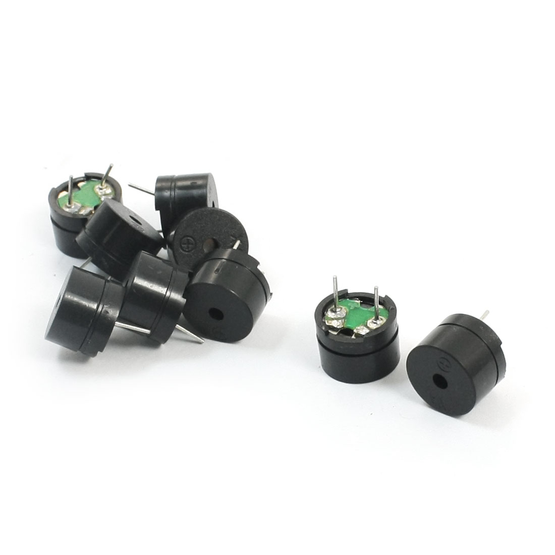 8Pcs 12mm x 8mm 2 Terminal Through Hole Mounting Cylinder Black Plastic Industrial Passive Electronic Alarm Buzzer 42 Ohm