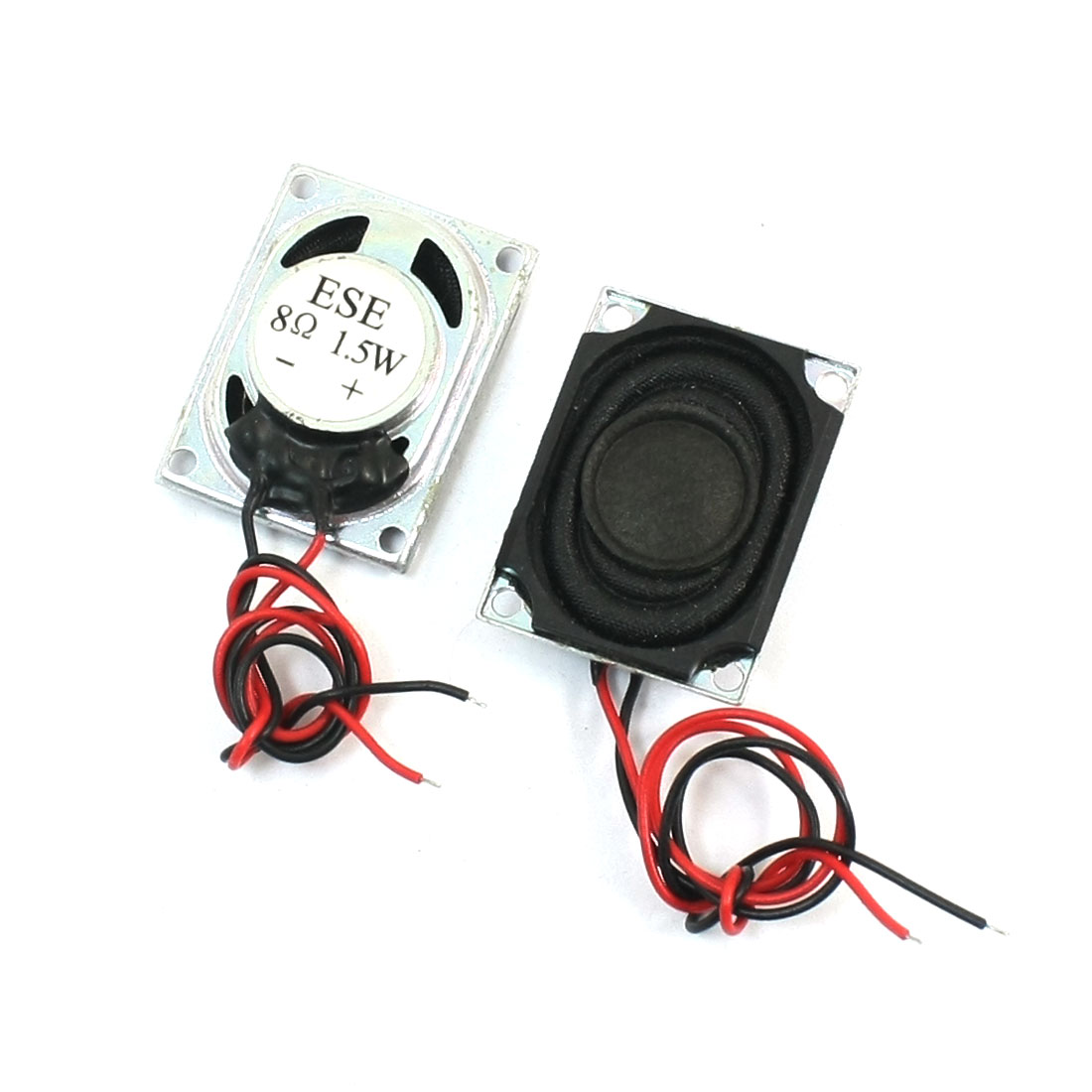 2Pcs 1.5Watt 8 Ohm 2-Wired Rectangle Metal Case Speaker Loudspeaker Amplifier Horn 27mm x 20mm for Music Player
