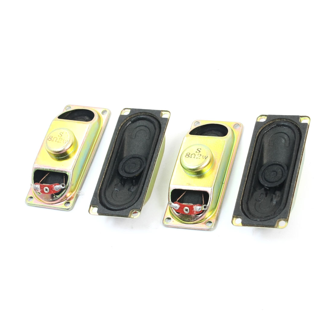 4 Pcs 70mm x 30mm Rectangle Metal Housing Magnetic Type Audio Speaker Amplifier Trumpet Loudspeaker 2W 8 Ohm for LCD TV Player