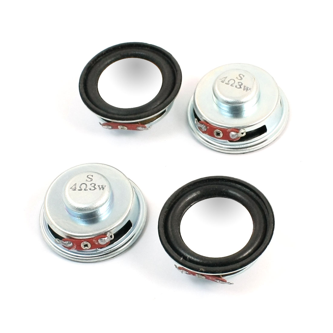 4Pcs 40mm Dia Round Aluminum Shell Internal Magnet Type Electronic Toy Audio Speaker Amplifier Loundspeaker 3W 4 Ohm