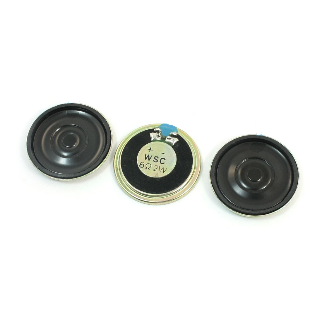 3 Pcs 36mm Dia Round Metal Case Internal Magnet Music Player Audio Speaker Loudspeaker Amplifier 2W 8 Ohm Replacement