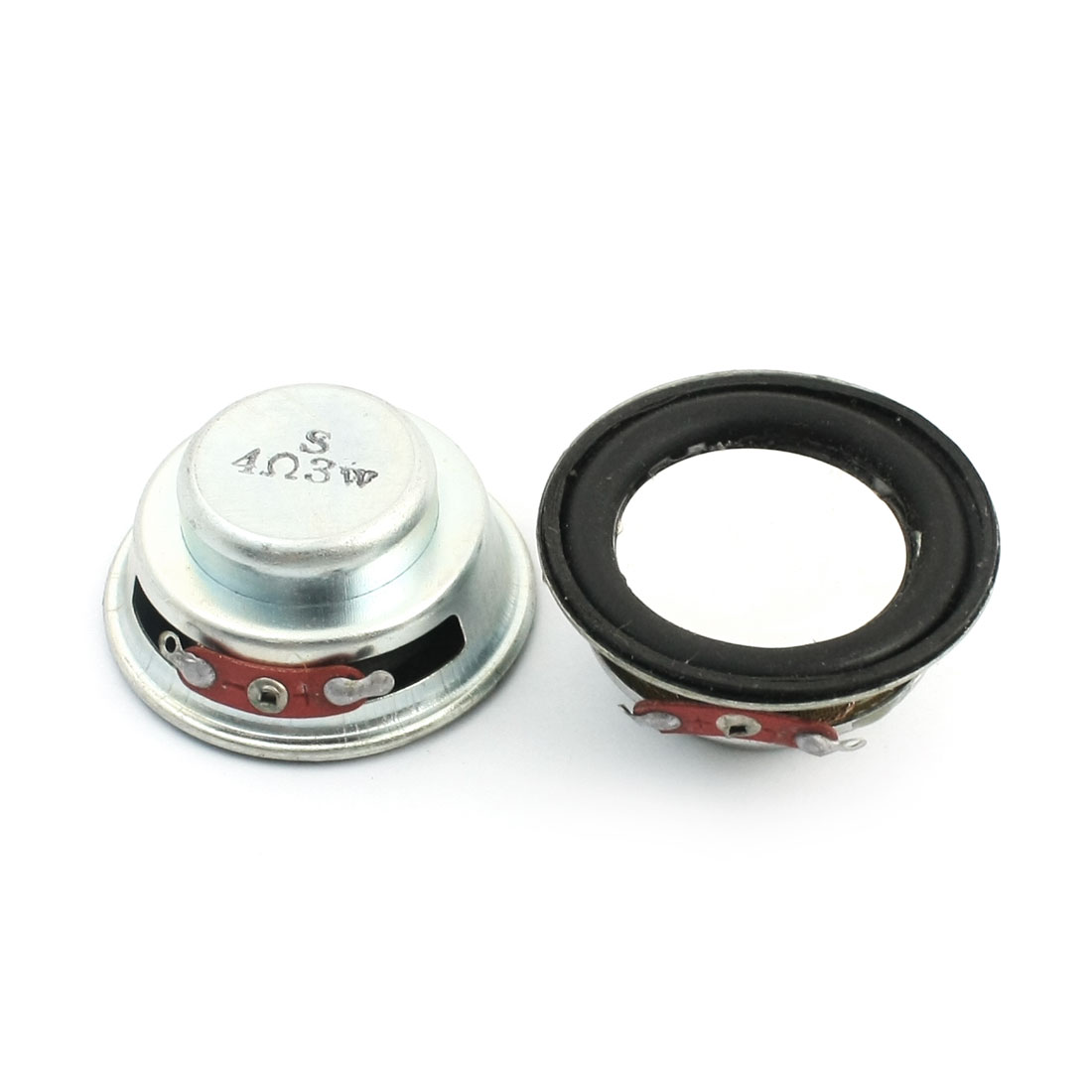 2Pcs 3Watt 4 Ohm 40mm Round Aluminum Shell Internal Magnet Type Music Player Audio Speaker Amplifier Loundspeaker Trumpet