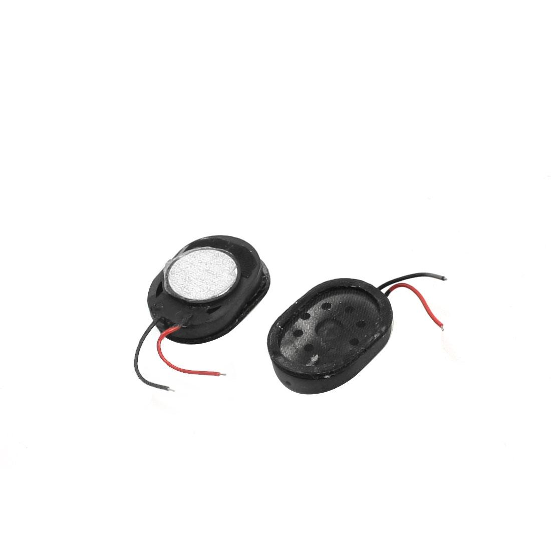 2Pcs 1W 8 Ohm 2-Wired Oval Shaped Plastic Shell Phone Tablet PC Magnet Audio Speaker Loudspeaker Amplifier 17mm x 12mm