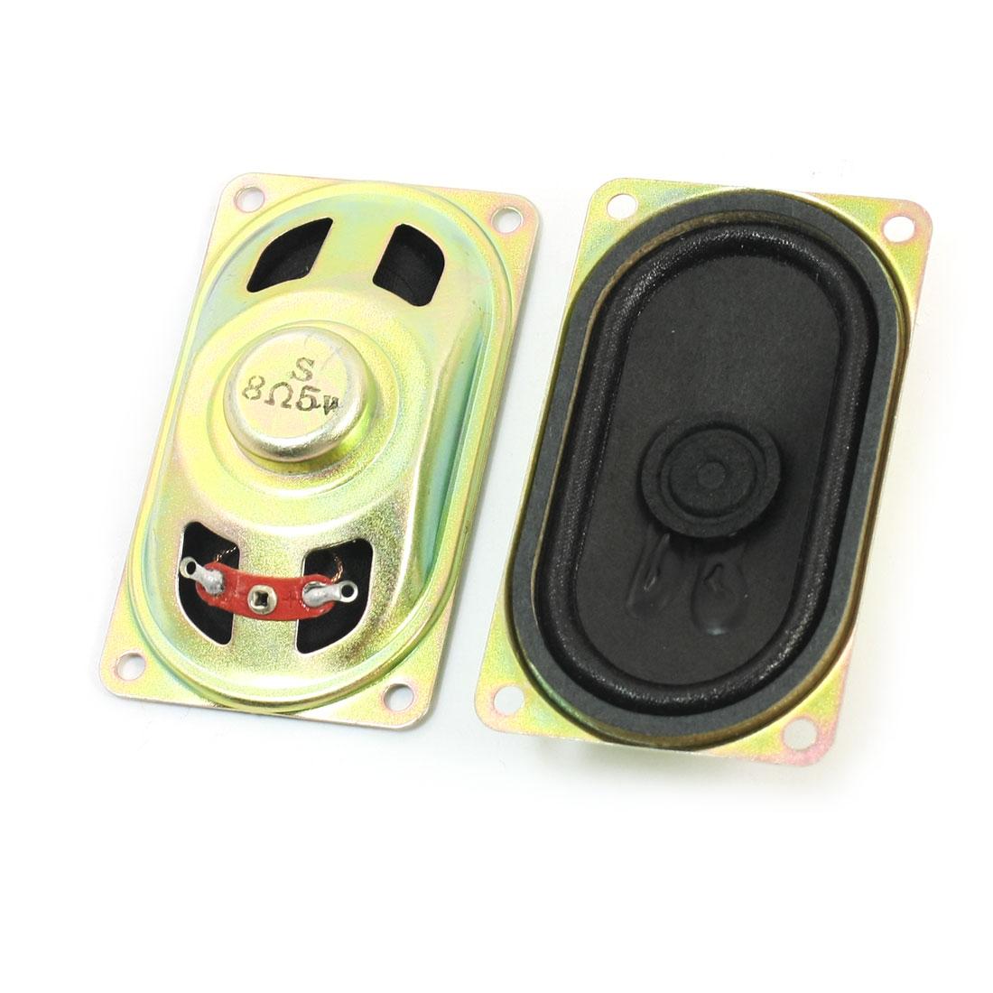 2 Pcs 70mm x 40mm Rectangle Metal Case Magnetic Type LCD TV Player Audio Speaker Amplifier Loudspeaker 5W 8 Ohm