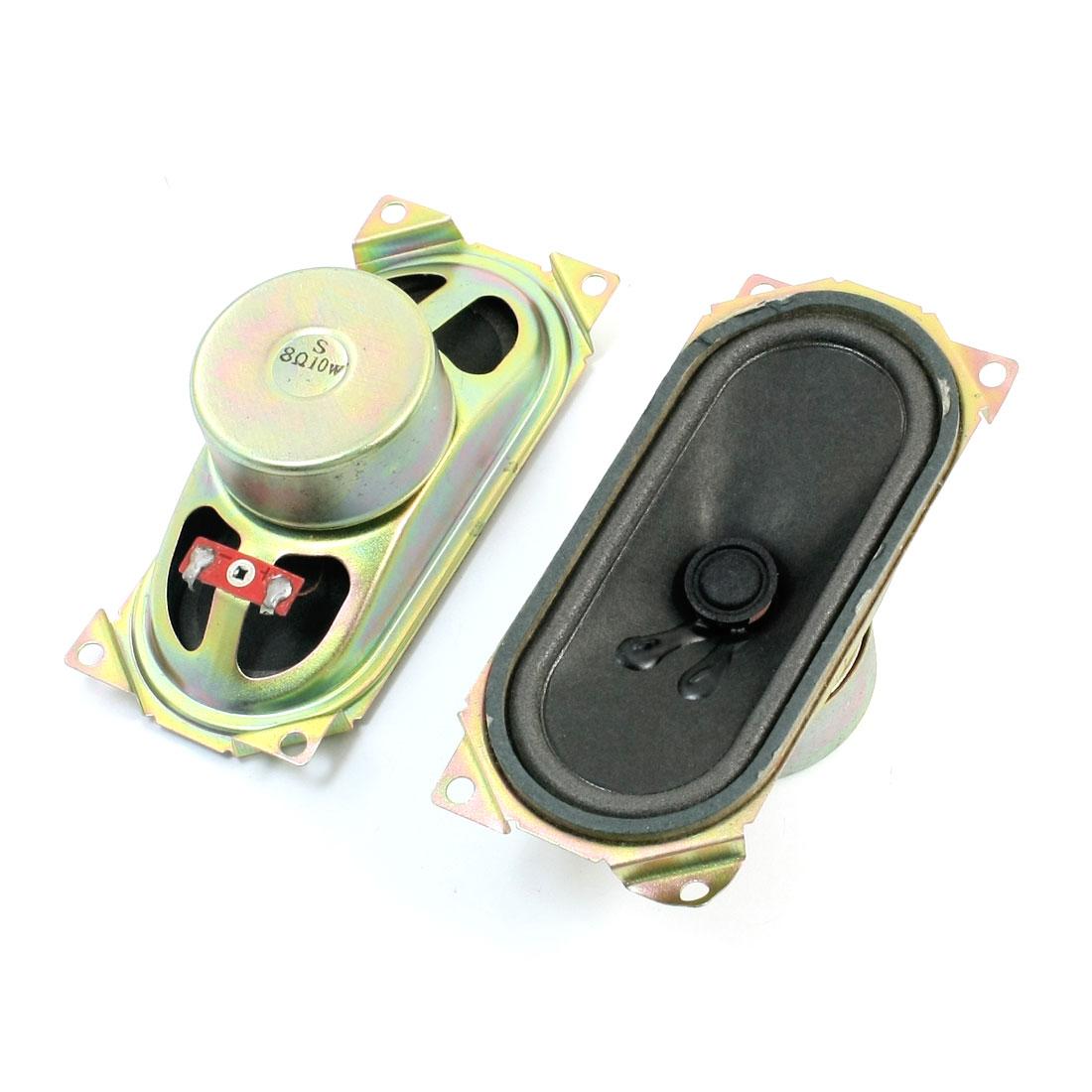 2 Pcs 130mm x 60mm Rectangle Metal Case Magnetic Type LCD TV Player Audio Speaker Amplifier Loudspeaker 10W 8 Ohm