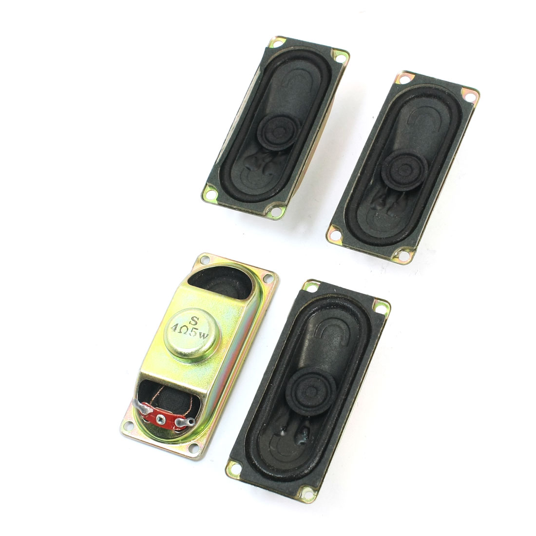 4 Pcs 70mm x 30mm Rectangle Metal Case Magnetic Type Television TV Player Audio Speaker Amplifier Loudspeaker 5W 4 Ohm