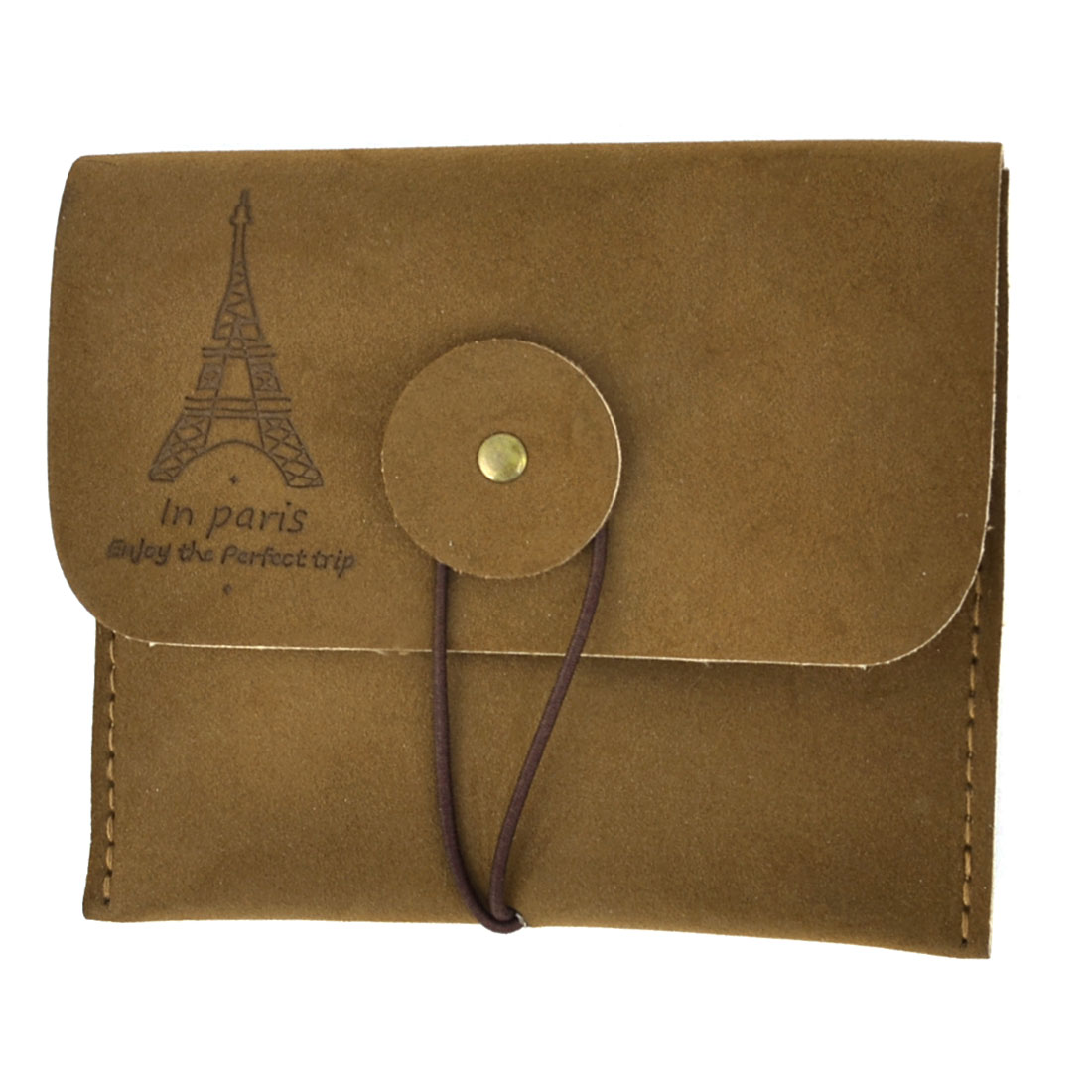 Eiffel Tower Pattern Faux Leather Card Coin Holder Organizer Coffee Color