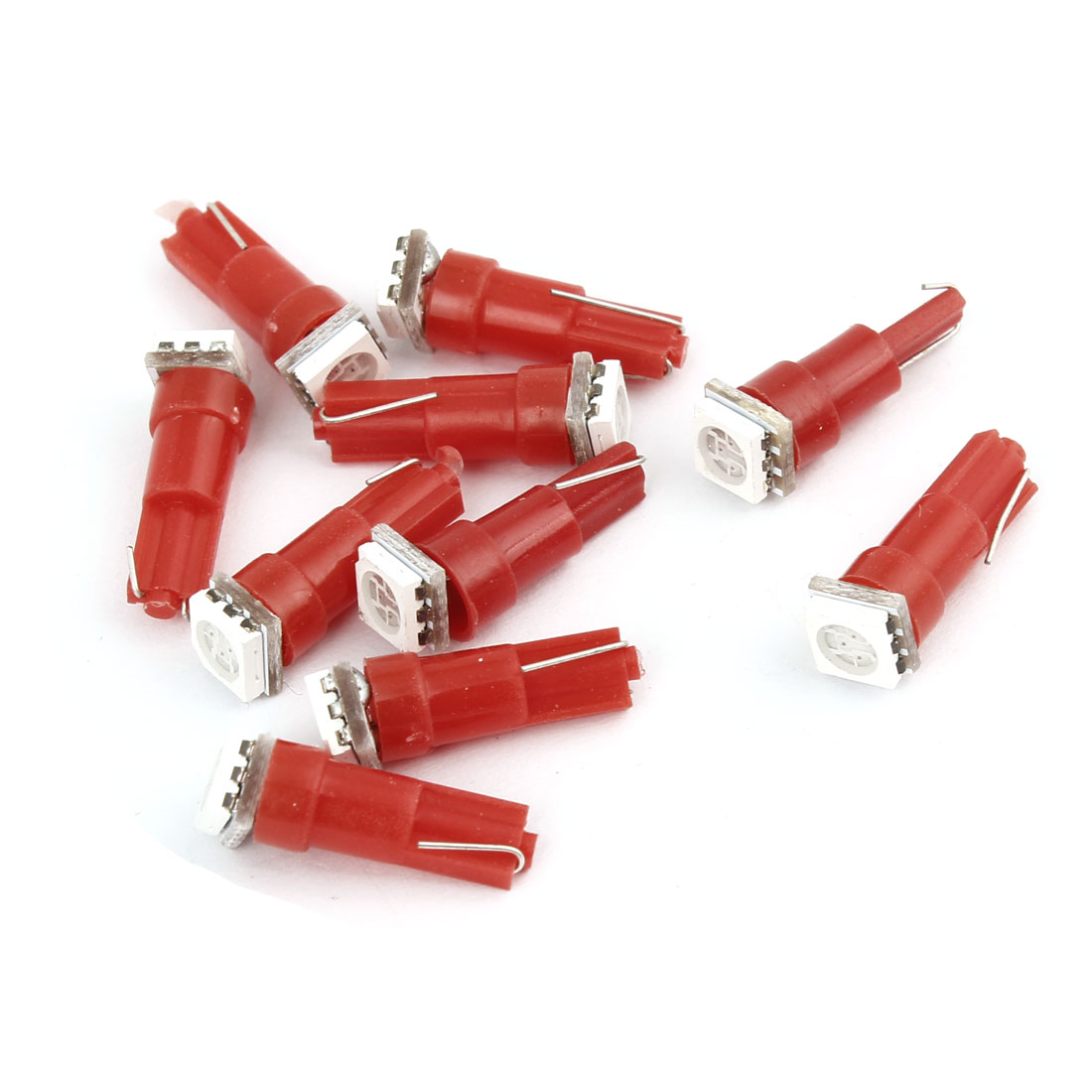 10 Pcs Wedge T5 5050 SMD LED Bulbs Dashboard Gauge Lights Turning Lamps Red 18 27 37 Internal