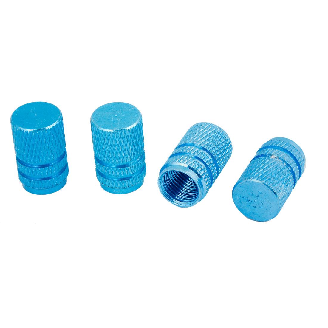 Cylinder Design Car Tire Rim Valve Air Dust Cover Stems Protector Blue 4 Pcs