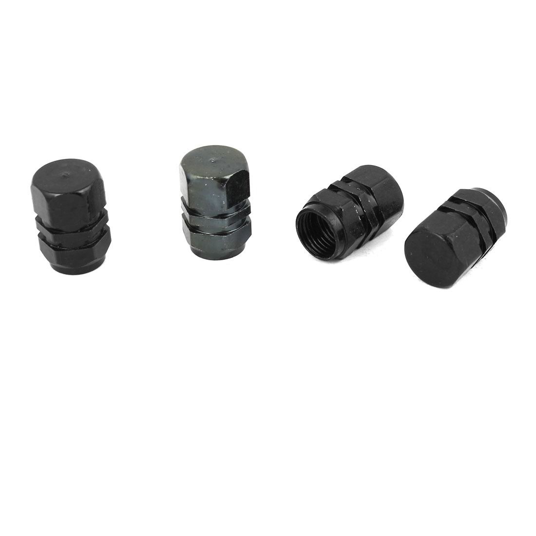 4 Pcs Car Black Hexagon Shape Alloy 7mm Inner Dia Tire Valve Protector