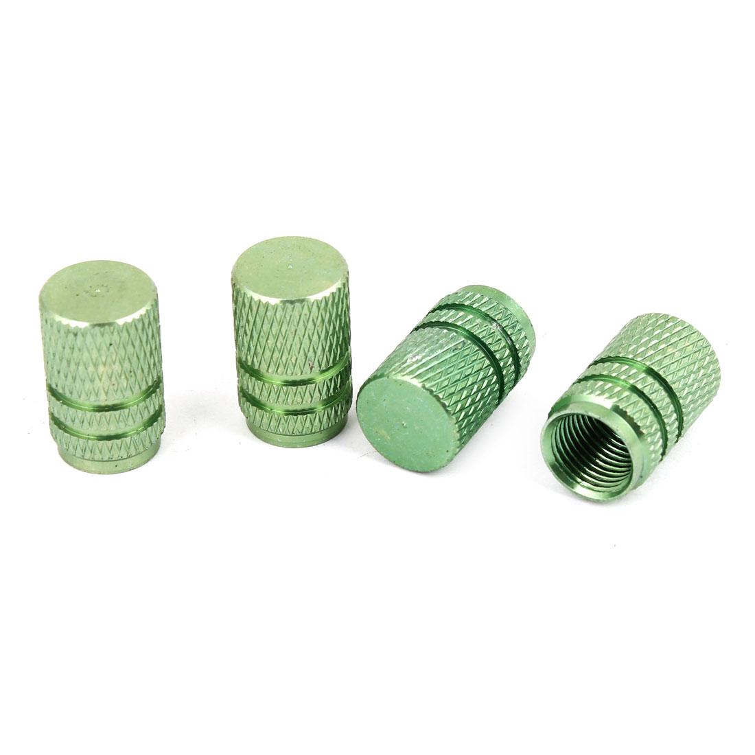 4PCS Green Cylinder Shaped Aluminum Alloy Tire Valve Caps Protectors for Car