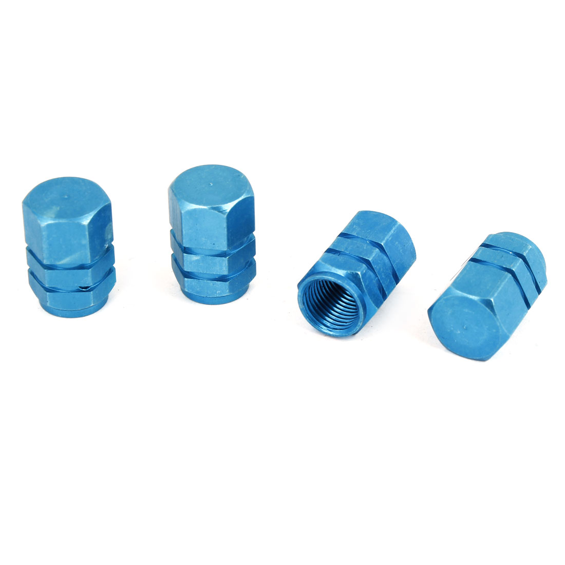 4 Pcs Hexagon Design Tyre Tire Valve Stems Caps Covers Protector Cyan Blue for Car