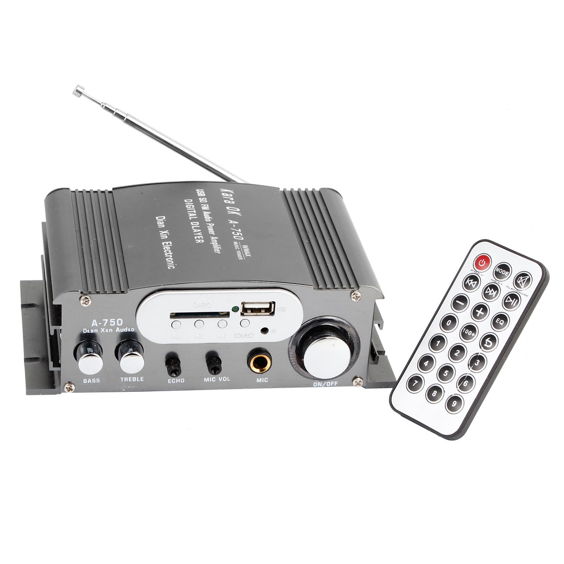 DC 12-18V 20W Car Auto FM Radio Audio Amplifier Gray w Remote Controller