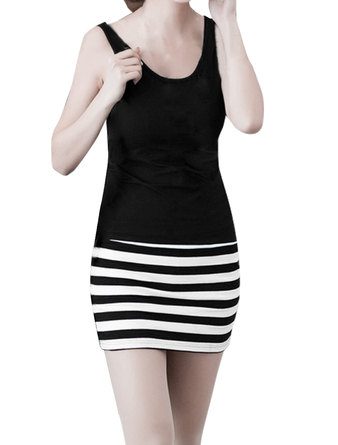 Women Stretchy Stripes Pattern Panel Mini Tank Dress Black White L