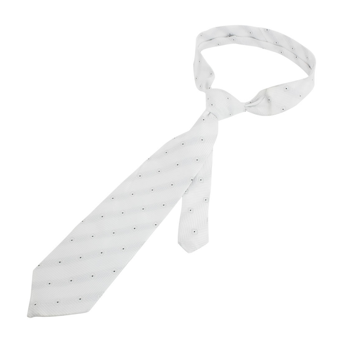 Men Rhombus Dot Pattern Polyester Textured Neckwear Necktie White Black