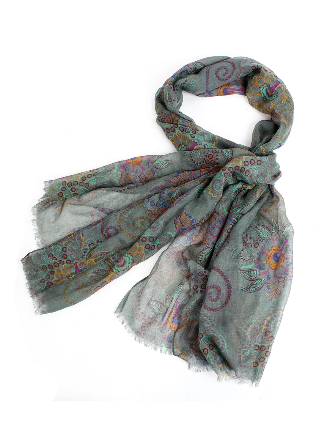 Flower Prints National Style Soft Gauze Scarf Wrap Gray for Ladies