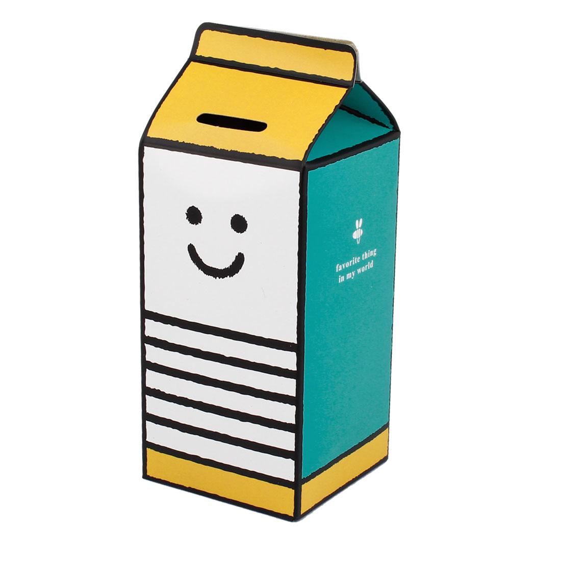 DIY Saving Milk Box Shape Smiling Face Print Money Piggy Bank Assorted Color