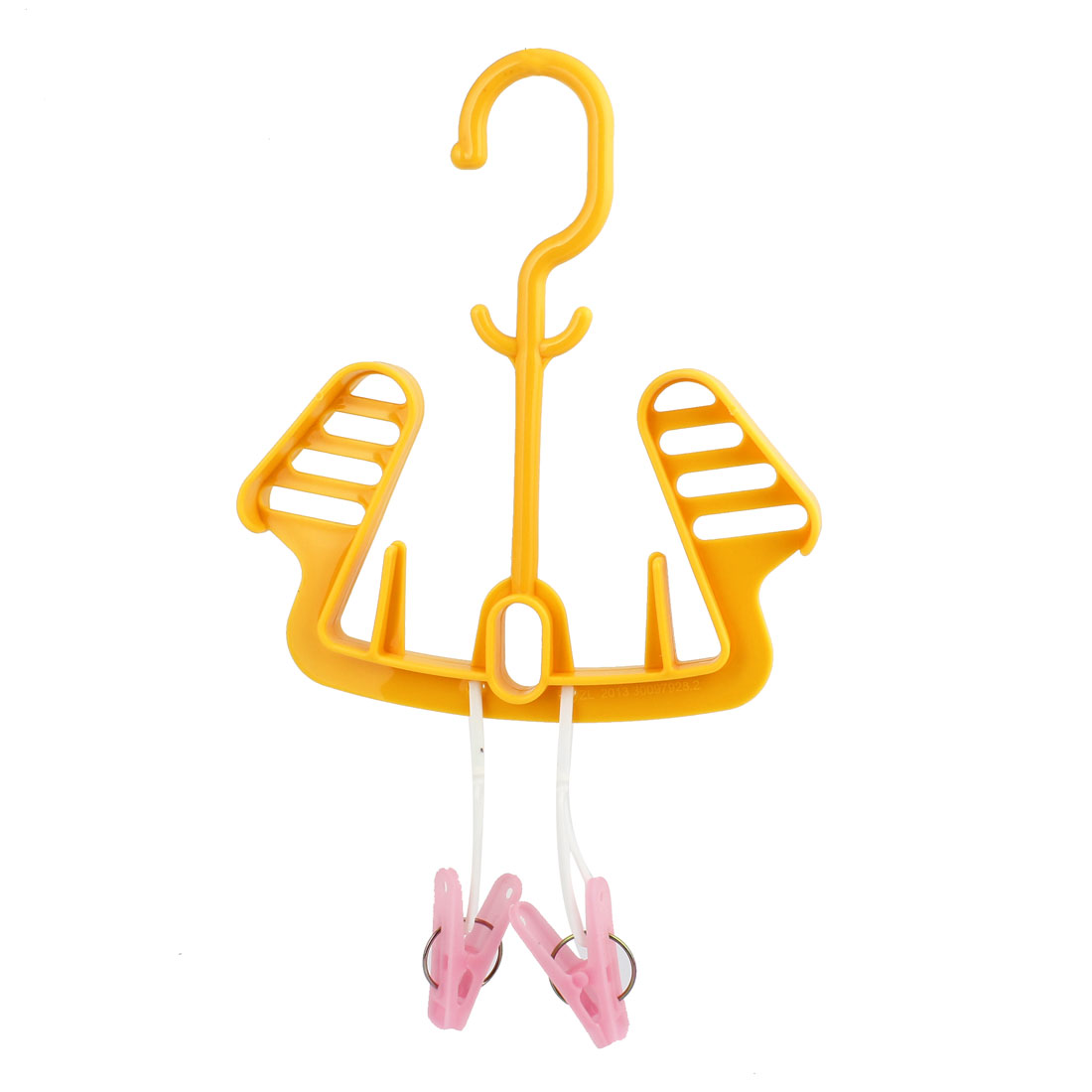 Home Foldable Plastic Shoes Drying Shelf Rack Hook Hanger Holder Orange