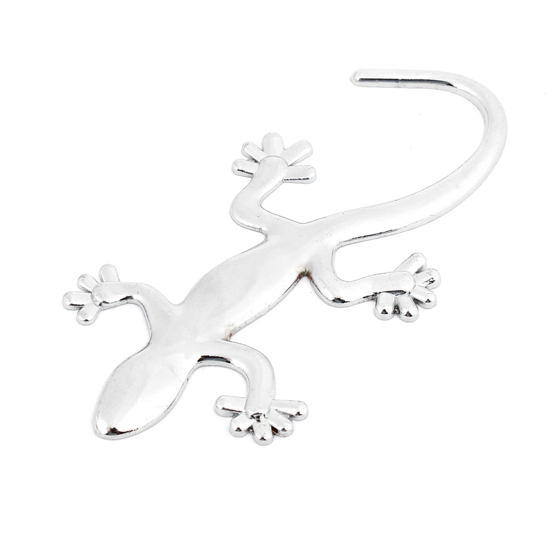Auto Metal 3D Gecko Shaped Adhesive Paster Badge Sticker Silver Tone