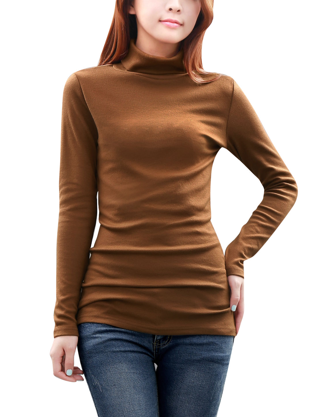 Ladies Turtle Neck Solid Color Stretchy Knit Shirt Khaki L