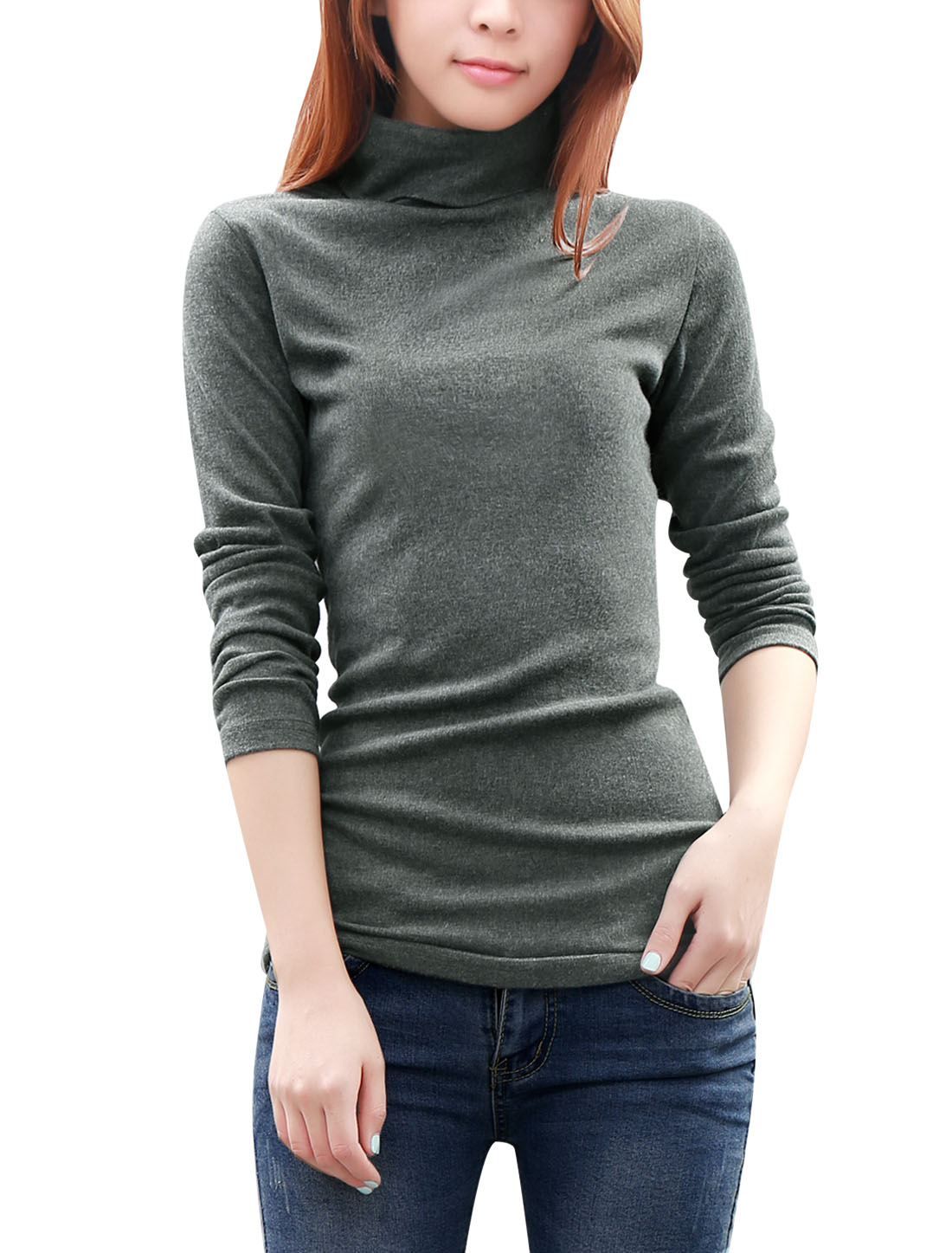 Ladies Slipover Design Long Sleeve Stretchy Knit Shirt Dark Gray M
