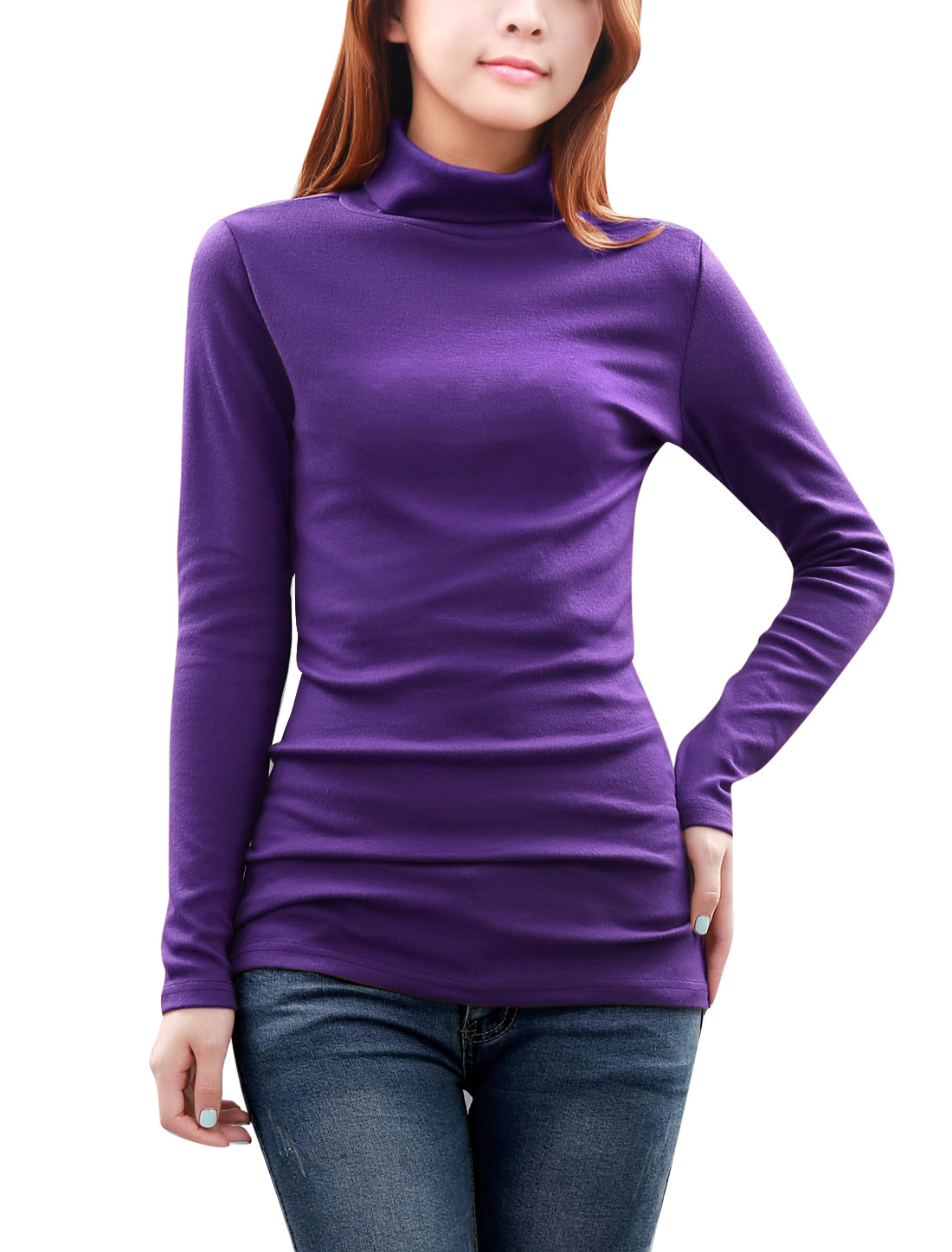 Ladies Sheathy Soft Long Sleeves Turtle Neck Autumn Blouse Purple L