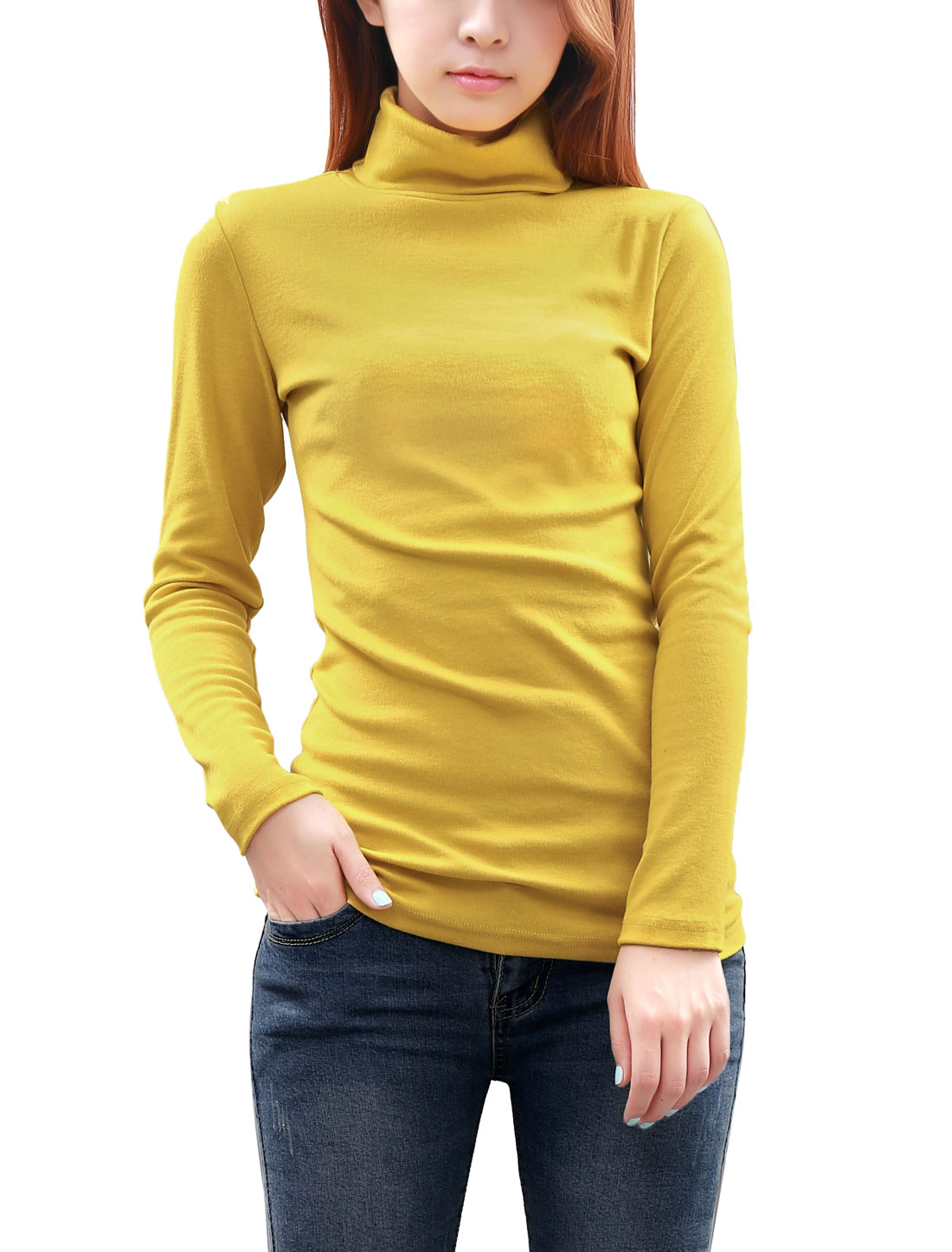 Women Cozy Fit Solid Color Long Sleeve Autumn Knit Top Yellow M