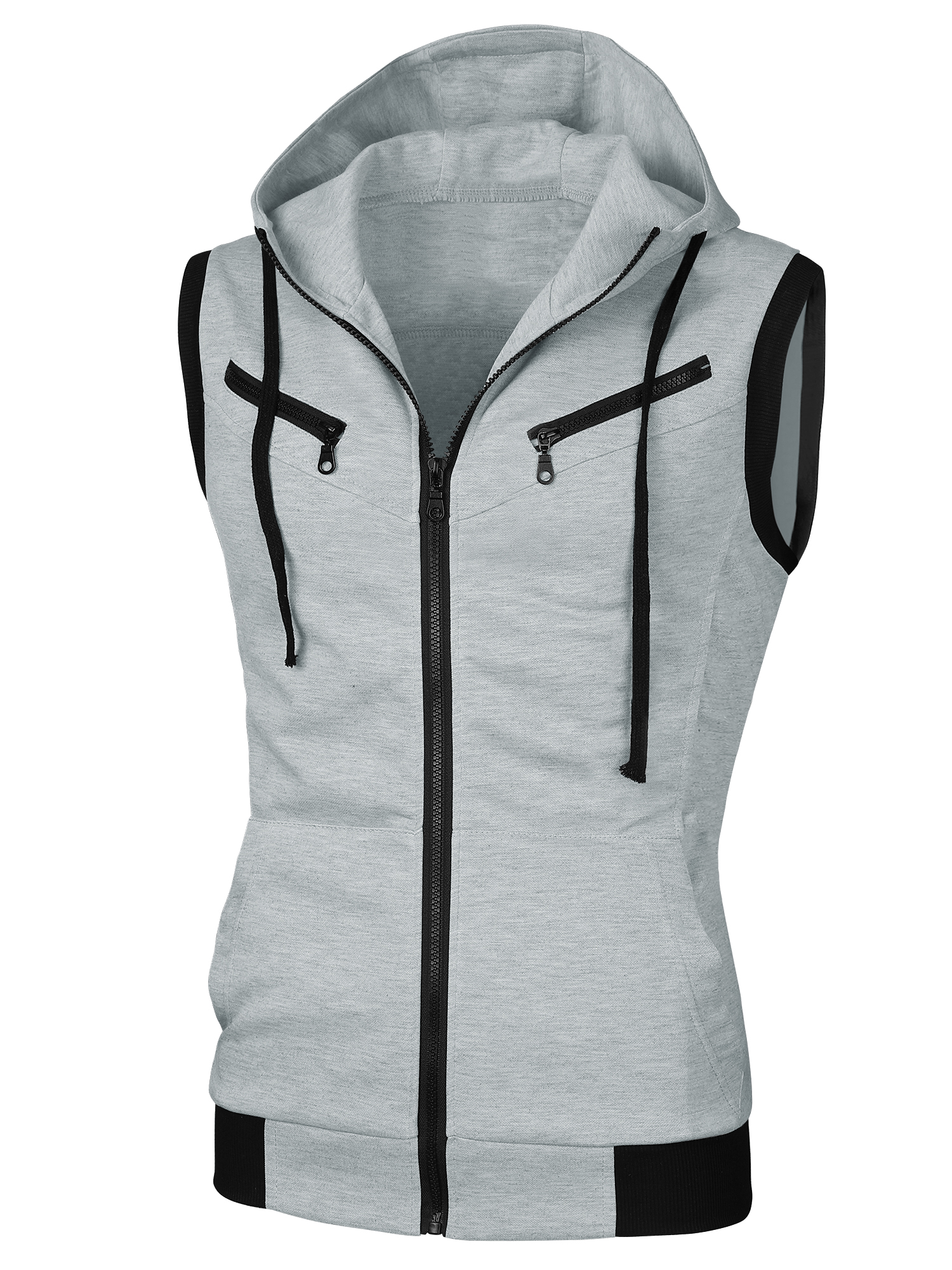 Men Ribbed Detail Drawcord Design Fashion Hoodie Vest Heather Gray S