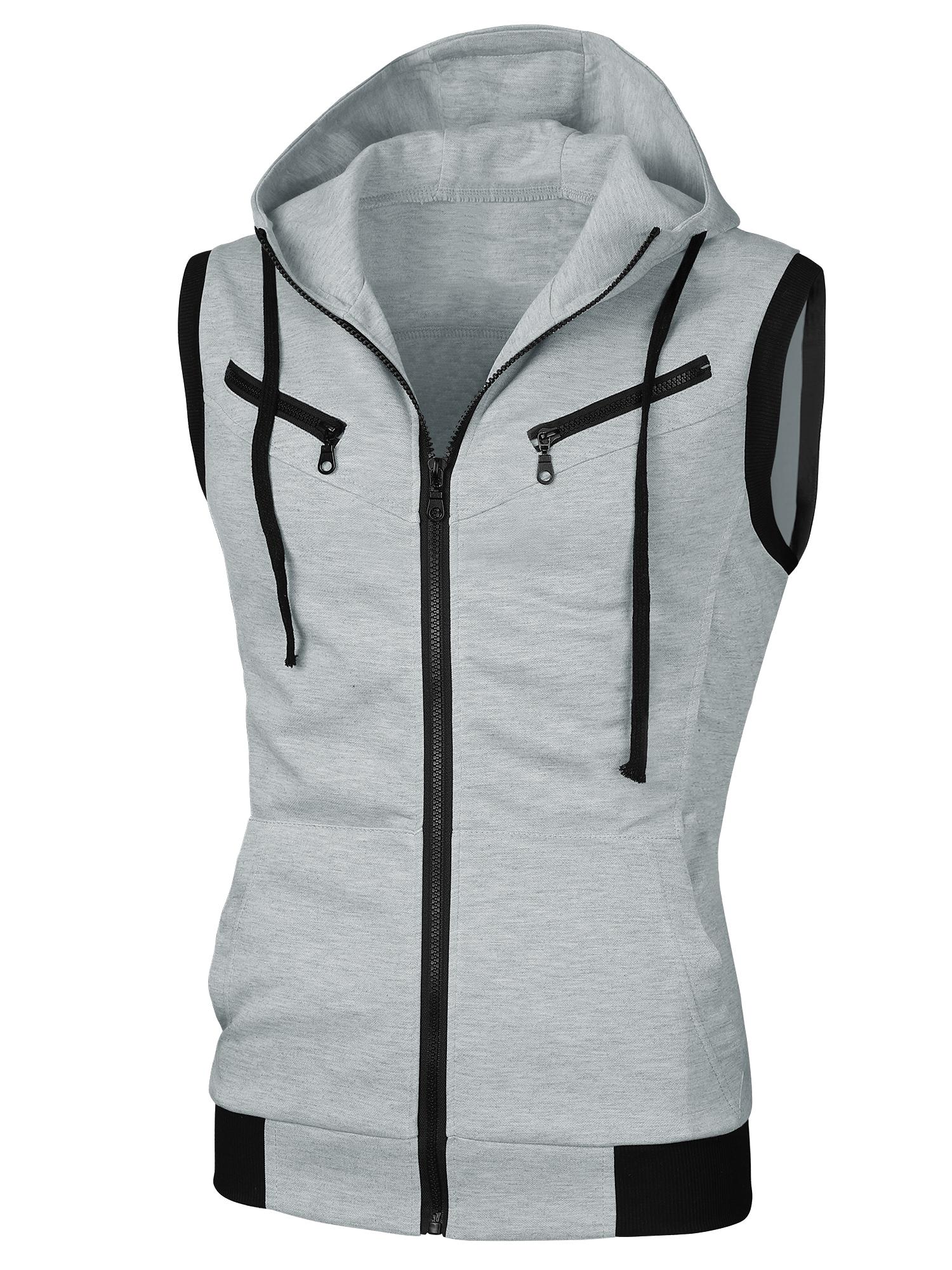 Men Sleeveless Drawcord Design Fashion Hoodie Vest Heather Gray M