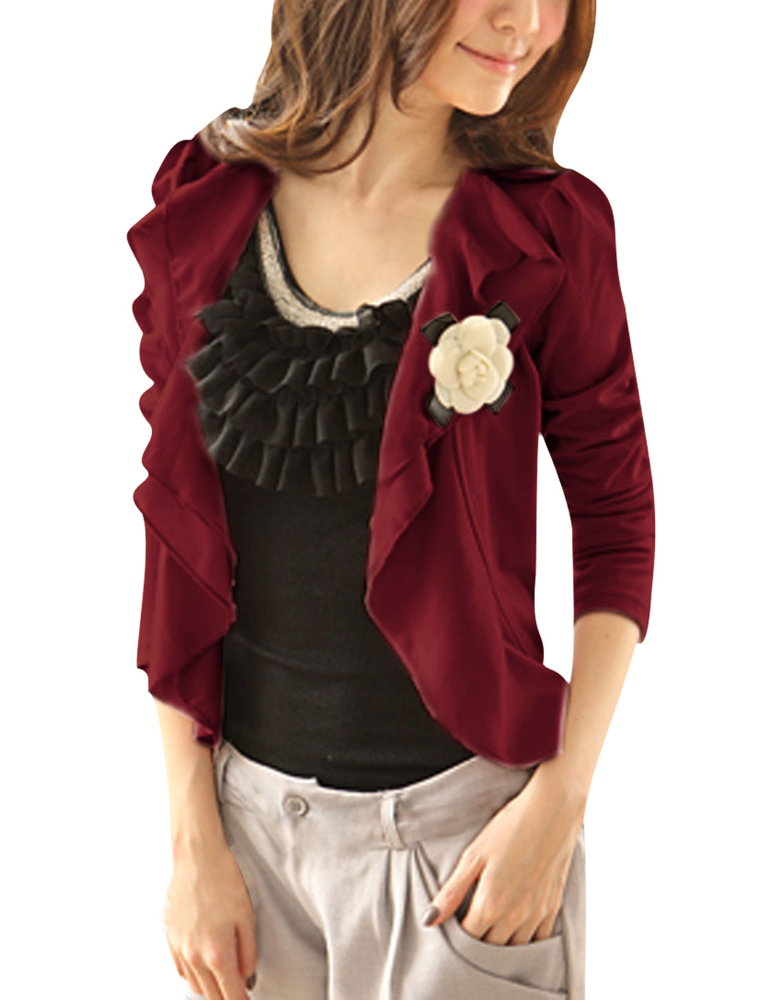 Allegra K Ladies Flower Brooch Self Tie String Leisure Cropped Blazer Burgundy L