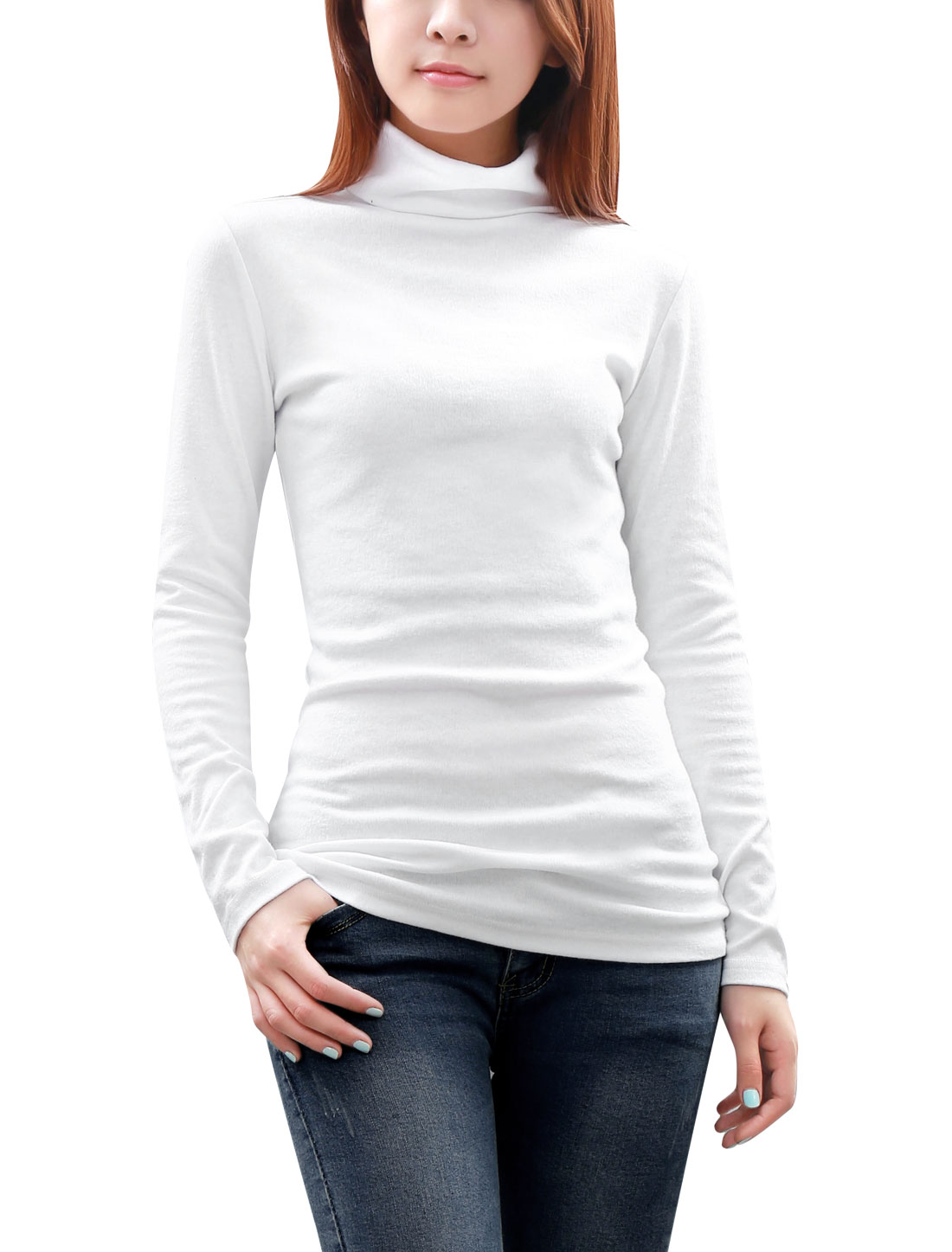 Women Slim Fit Straight Cutting Turtle Neck Soft Rib Knit Top White M
