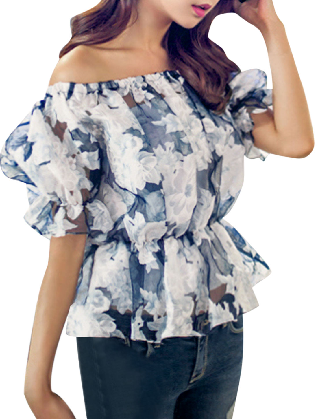 Lady Elastic Off Shoulder Floral Prints See Through Top White Dark Blue XS