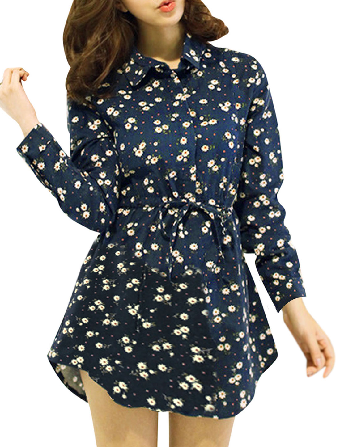 Lady Point Collar Long Sleeve 1/2 Placket Floral Prints Shirt Dress Navy Blue S