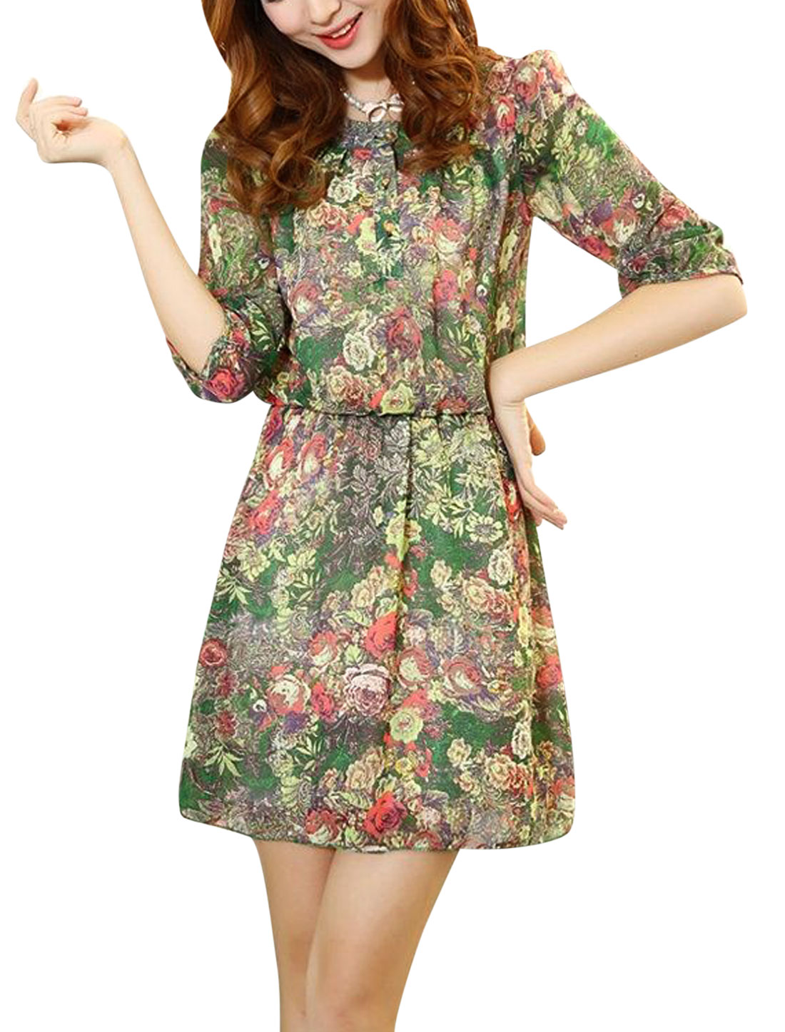Women Round Neck Floral Prints Stretchy Waist Dress Green S