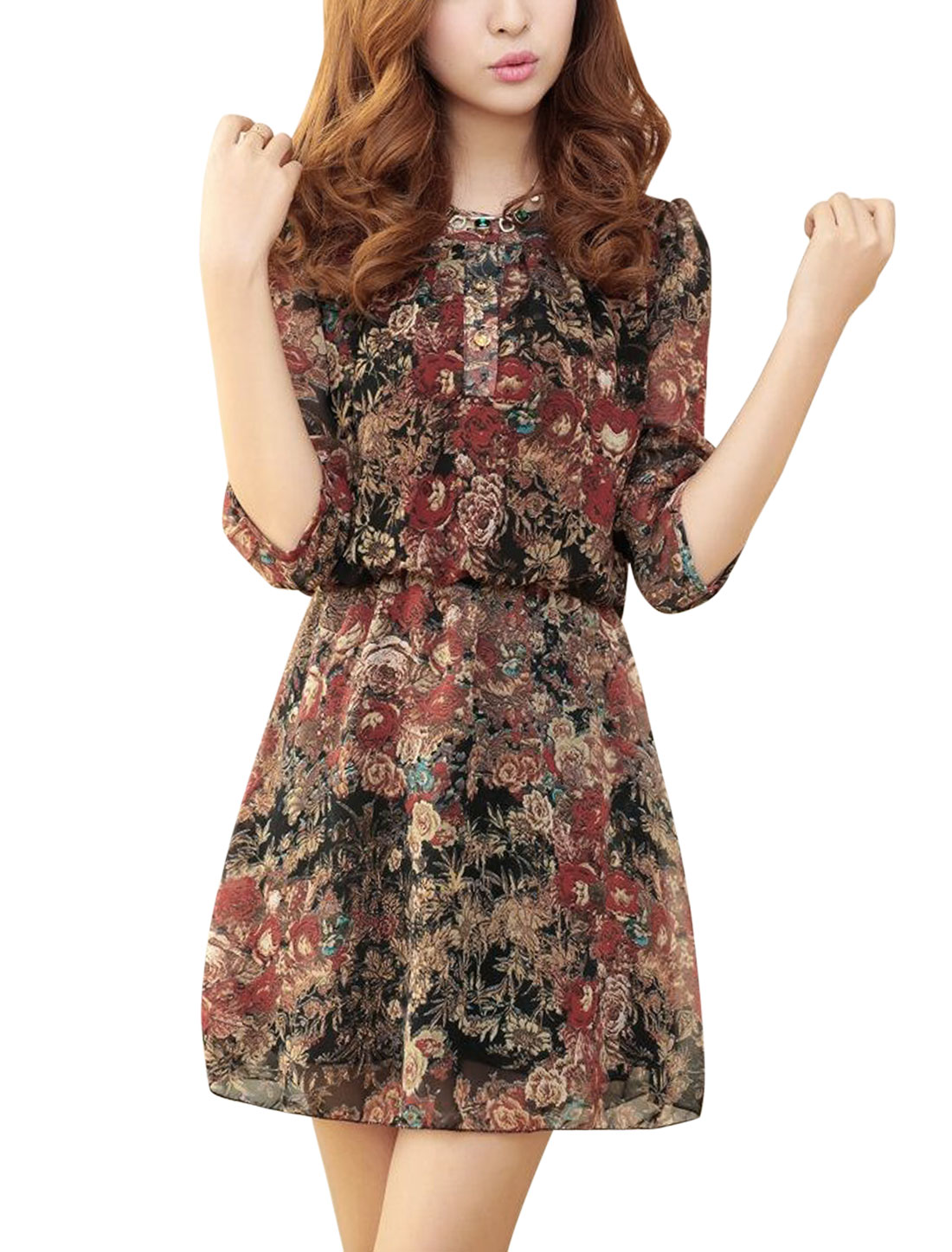 Women Floral Prints Stretchy Waist Lining Dress Burgundy S