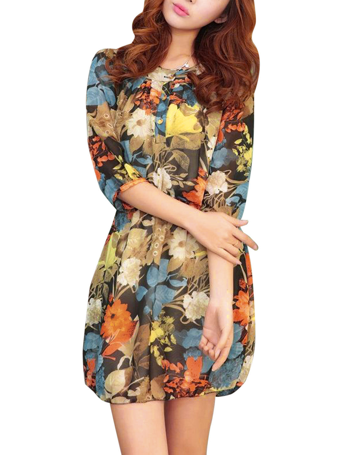 Women Round Neck 3/4 Sleeve Floral Prints Dress Multicolor S