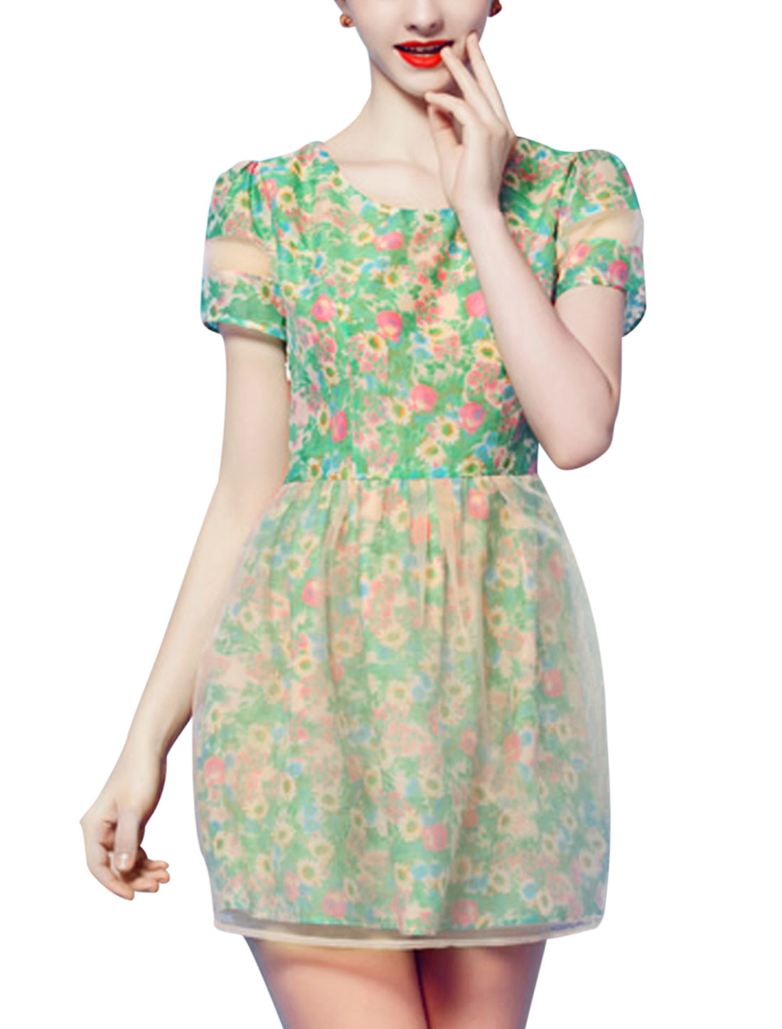 Lady Side Zipper Organza Panel Floral Chiffon Short Dress Multicolor L