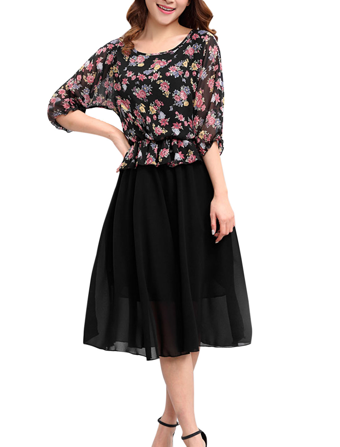 Lady 3/4 Sleeve Floral Print Elastic Waist Layered Design Chiffon Dress Multicolor L