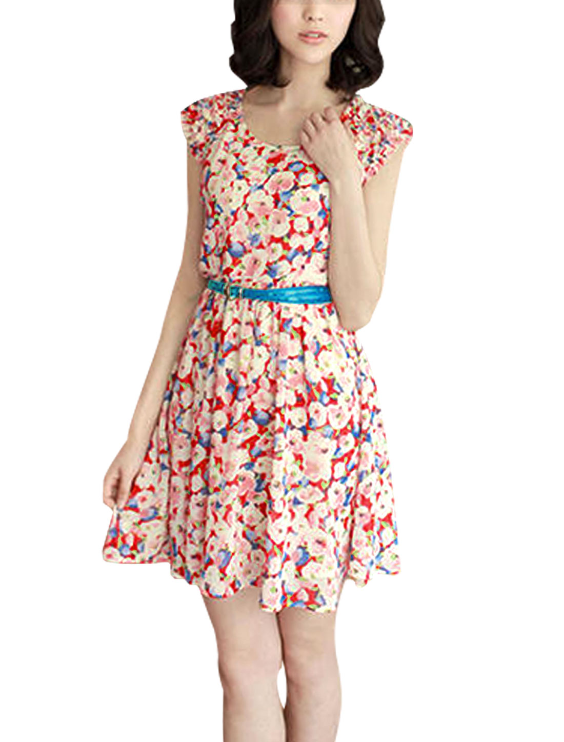 Lady Allover Floral Print Self Belt Gathered Detail Chiffon Short Dress Multicolor XS