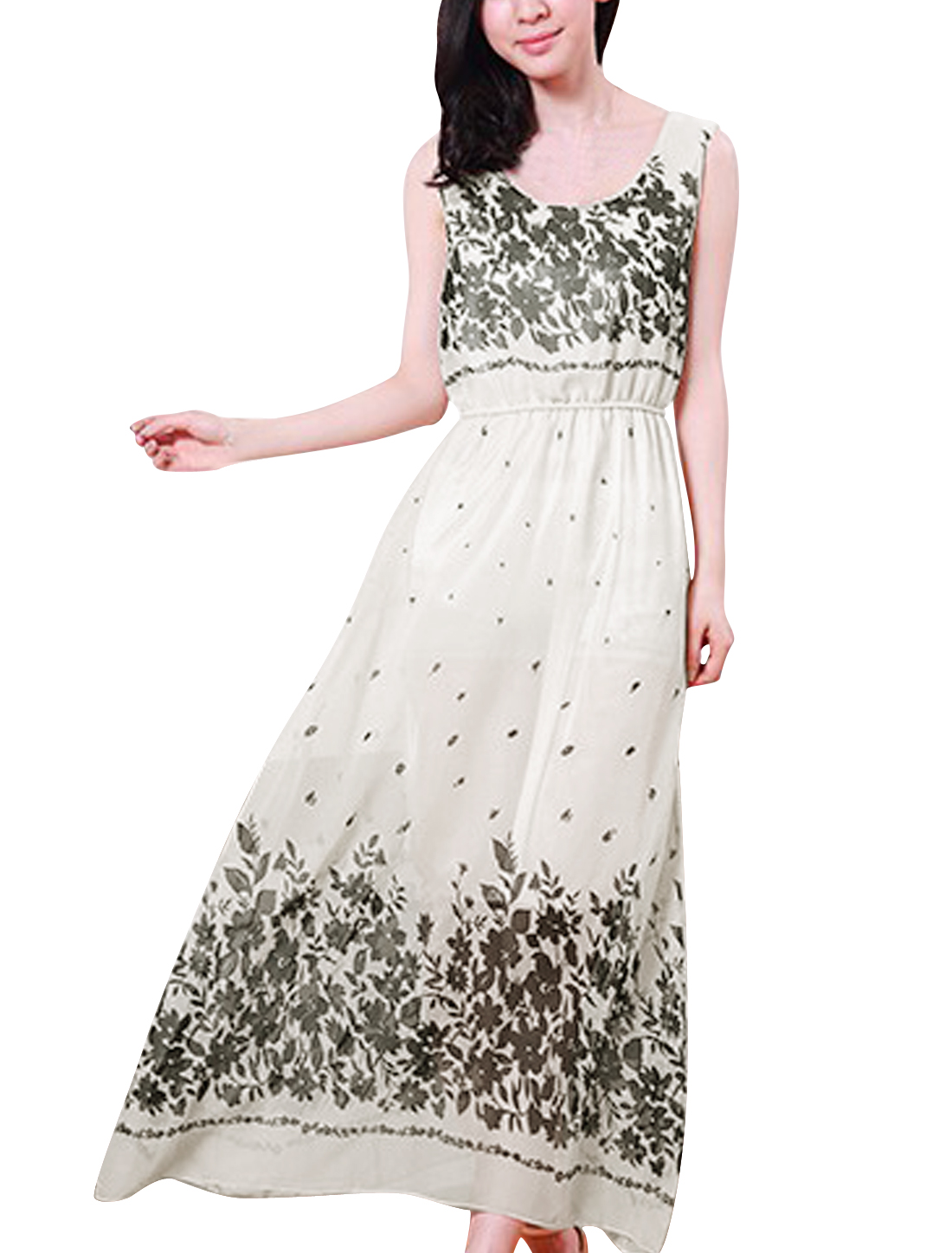 Ladies Casual Stretchy Waist Flower Prints Chiffon Dress White XS
